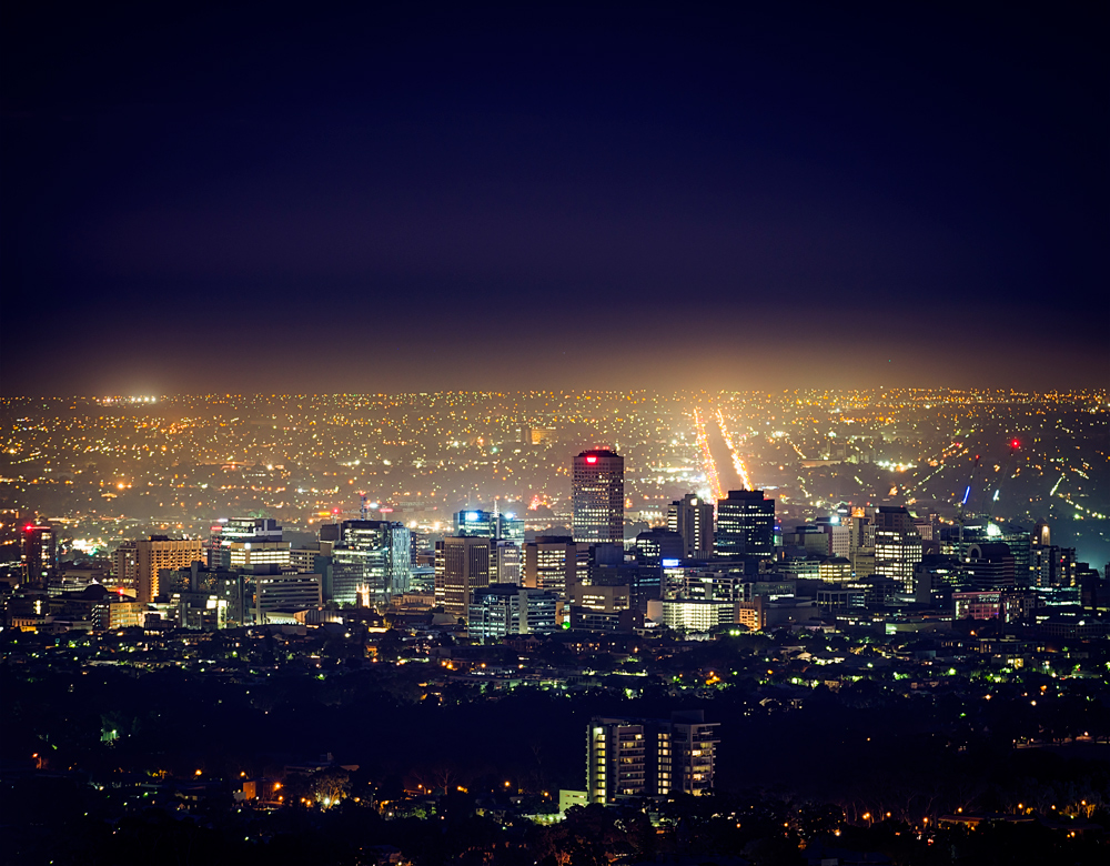 No Cheap Electricity in Adelaide CBD Skyline at Night