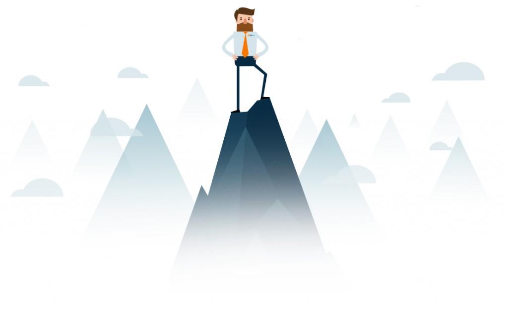 Energy Brokers Australia - Vector Image of Bulk Energy's Mascot Standing on a Mountain