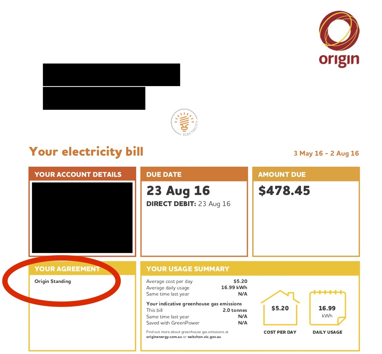 Compare Electricity Prices - The Front Page of an Origin Bill