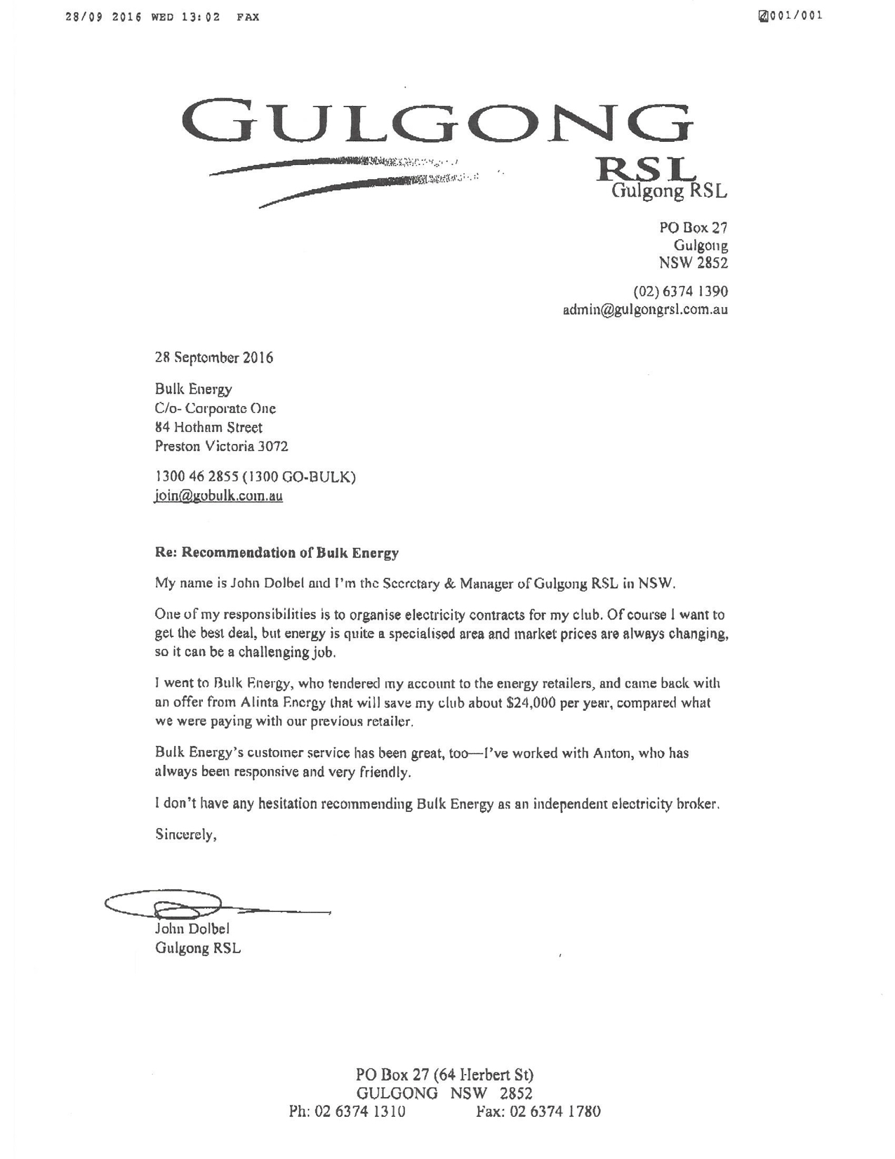 Anton Battista - Gulgong RSL Testimonial | Bulk Energy
